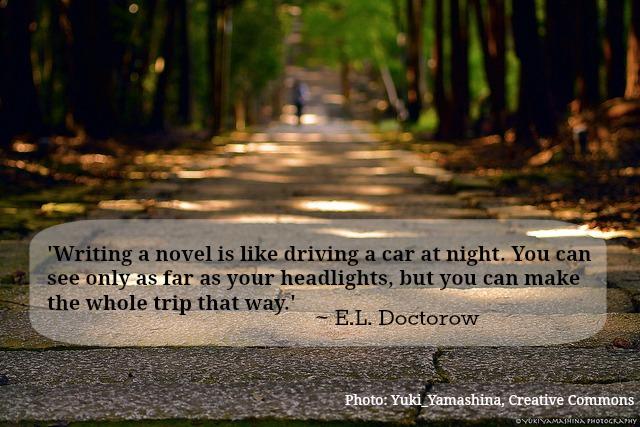 writing like driving a car at night