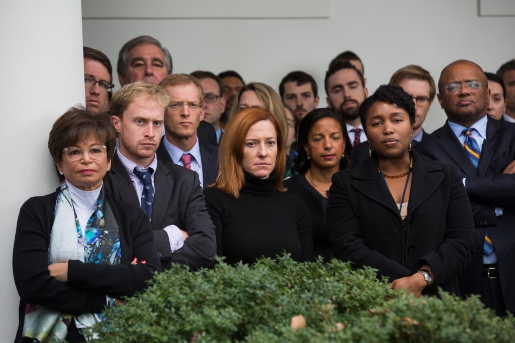 White House Staff listening to Obama announce Trump's victory.