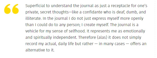 Susan Sontag on keeping a journal